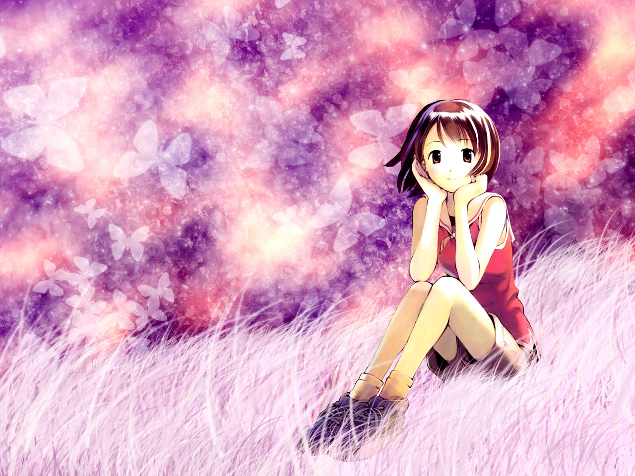 Cute Anime Girl computer desktop wallpapers pictures images 1280x960