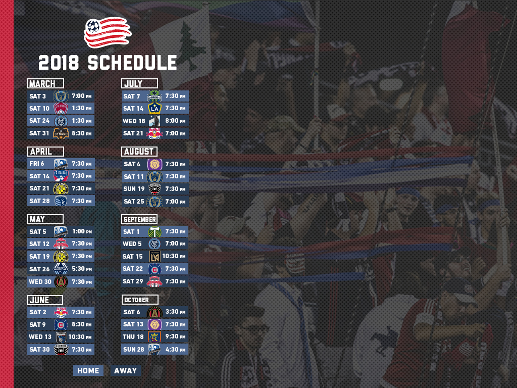 2018 Schedule Wallpapers New England Revolution 1024x768