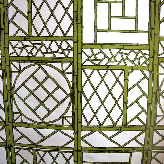 mod wallpaper Hollywood Regency with Chinese lattice bamboo trellis 570x570