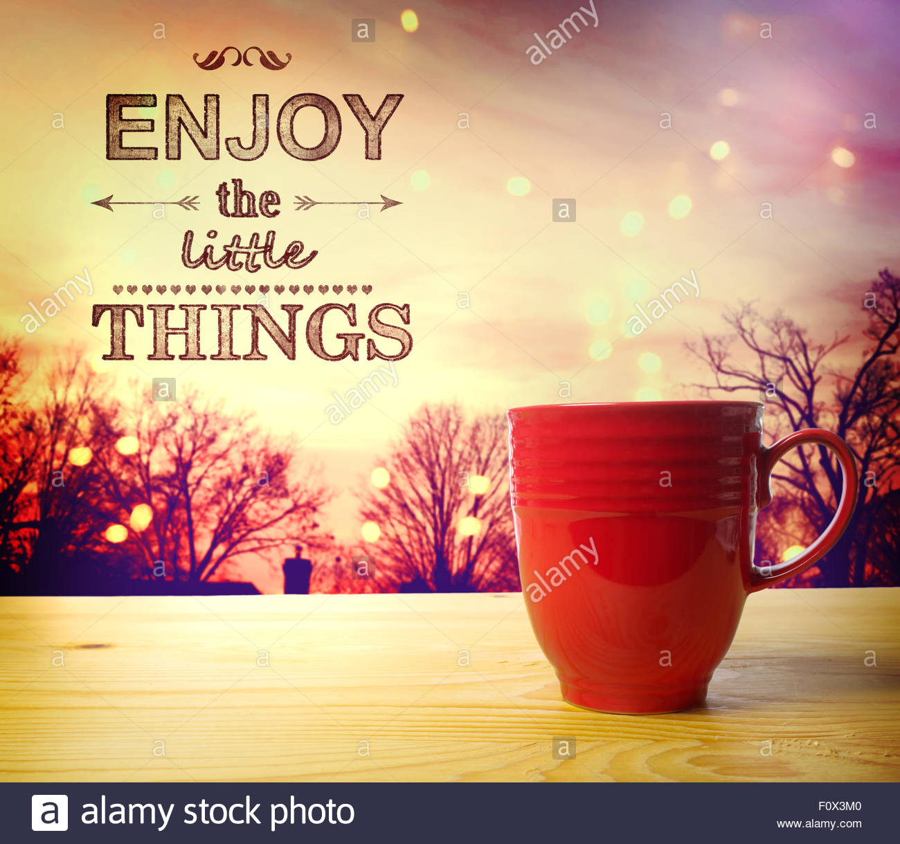Enjoy the Little Things text on twilight background wake up and 1300x1220