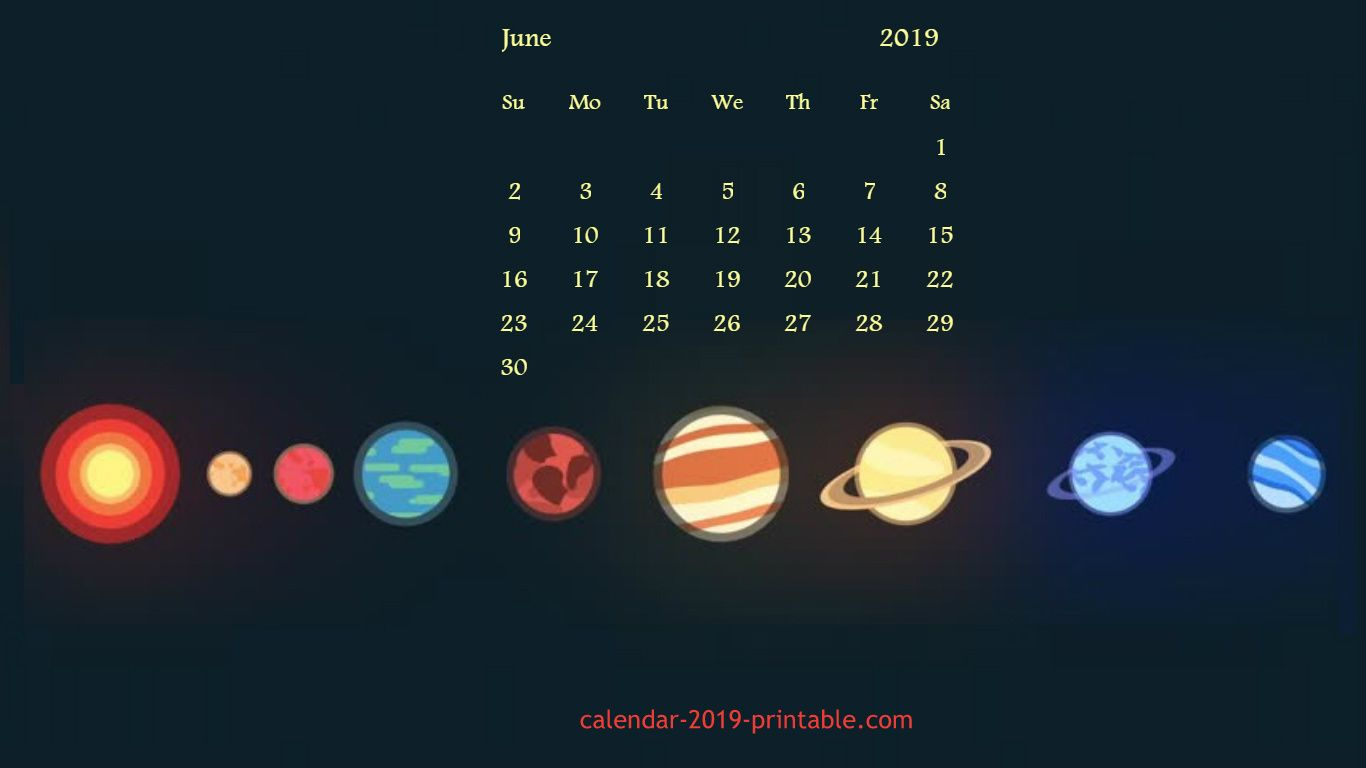 june 2019 calendar desktop wallpaper Calendar 2019 Wallpapers 1366x768