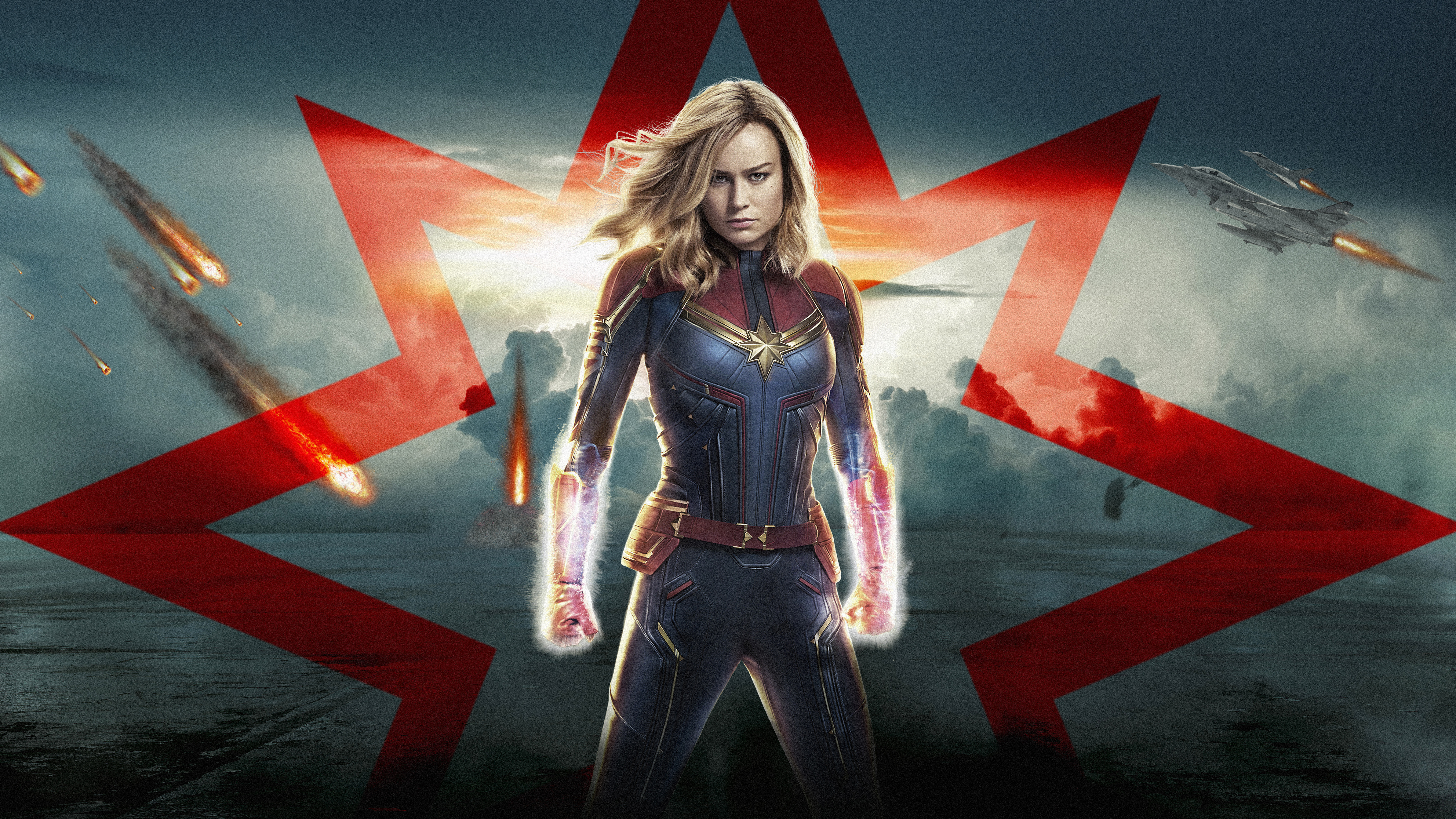 Brie Larson Captain Marvel wallpaper and background 7680x4320