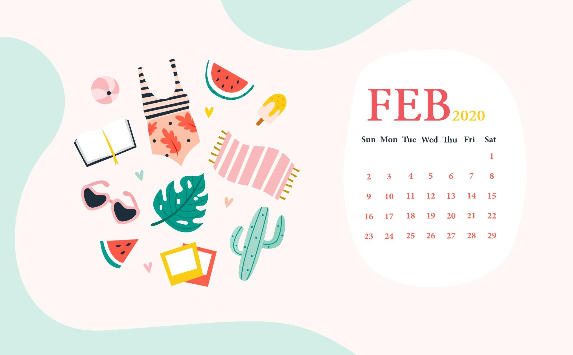 February 2020 Desktop Wallpaper Calendar Desktop wallpaper