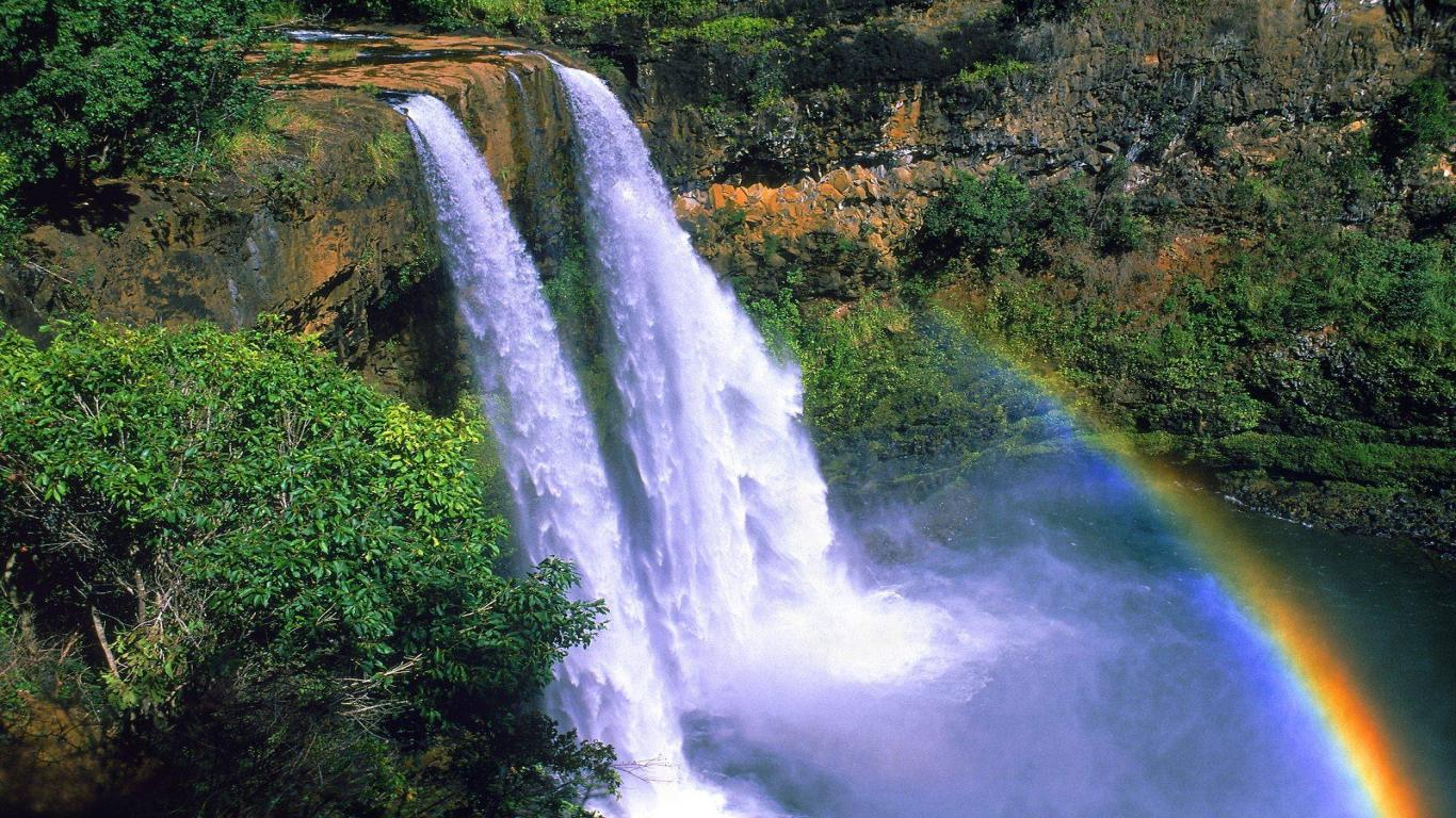 beautiful landscape waterfall wallpaper android Wallpaper with 1366x768