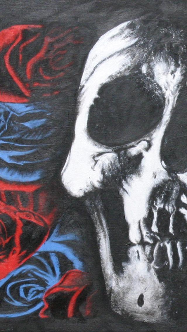 Deftones Skull and Roses iPhone 5 Wallpaper 640x1136 640x1136