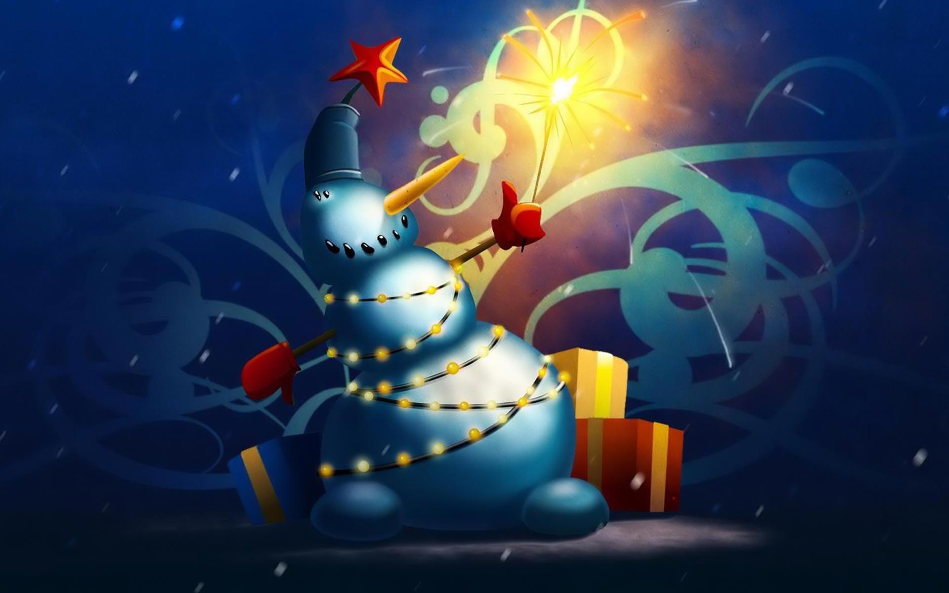 Cute Christmas Holiday Snowman computer desktop wallpaper 1920x1200