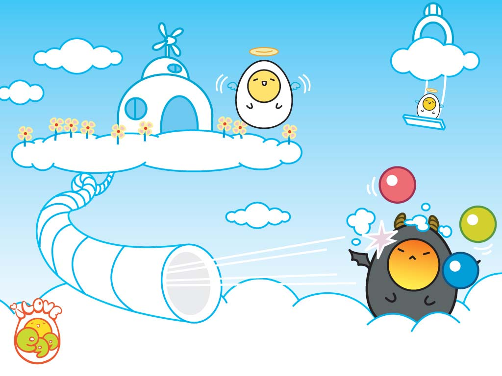 angel and devil kawaii wallpaper from I Love Egg The angel and the 1024x768