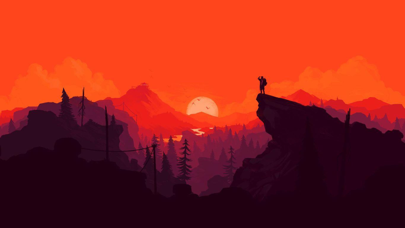 Nature Sunset Simple Minimal Illustration Wallpaper HD Minimalist 1366x768