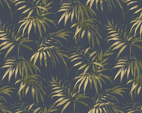 Tropical Leaf Wallpaper   Blue 580x460