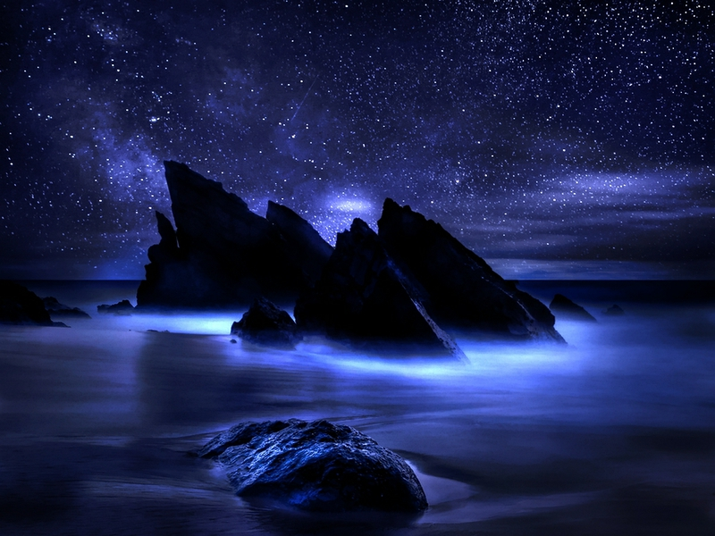 Midnight Dark Night Oceanscape Abstract Photography HD Wallpaper 800x600