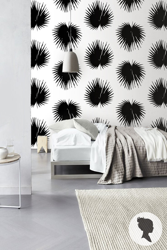 Self Adhesive Palm Leaf Pattern Removable Wallpaper by Livettes 570x855
