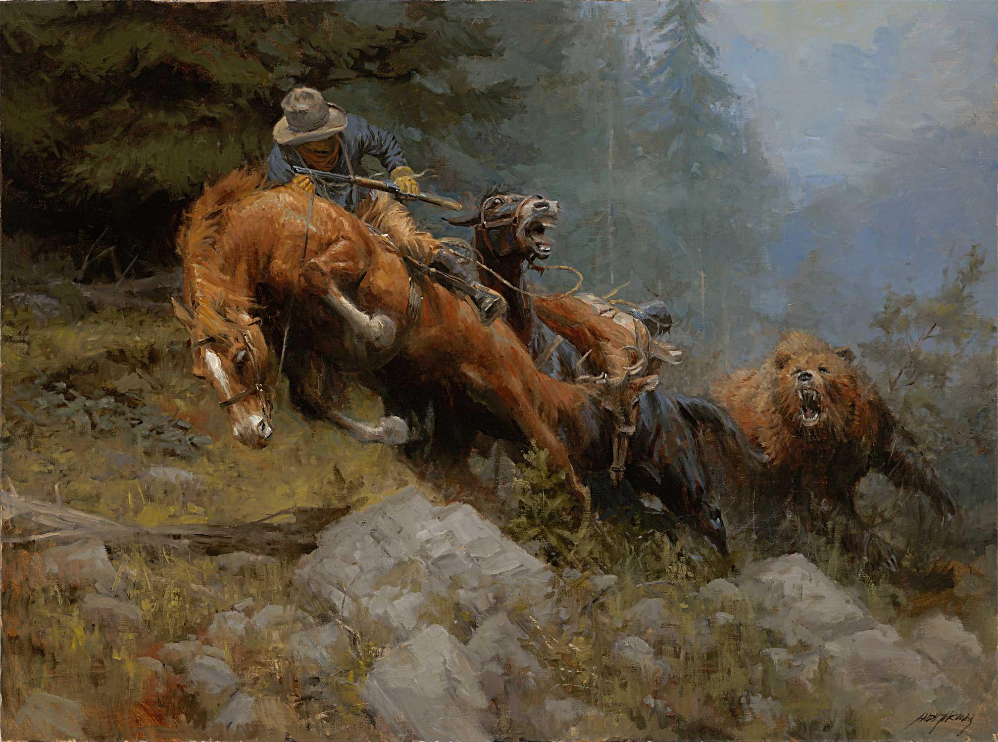 Wild West Painting Wallpaper 16645   Wallpaperesque 2016x1500