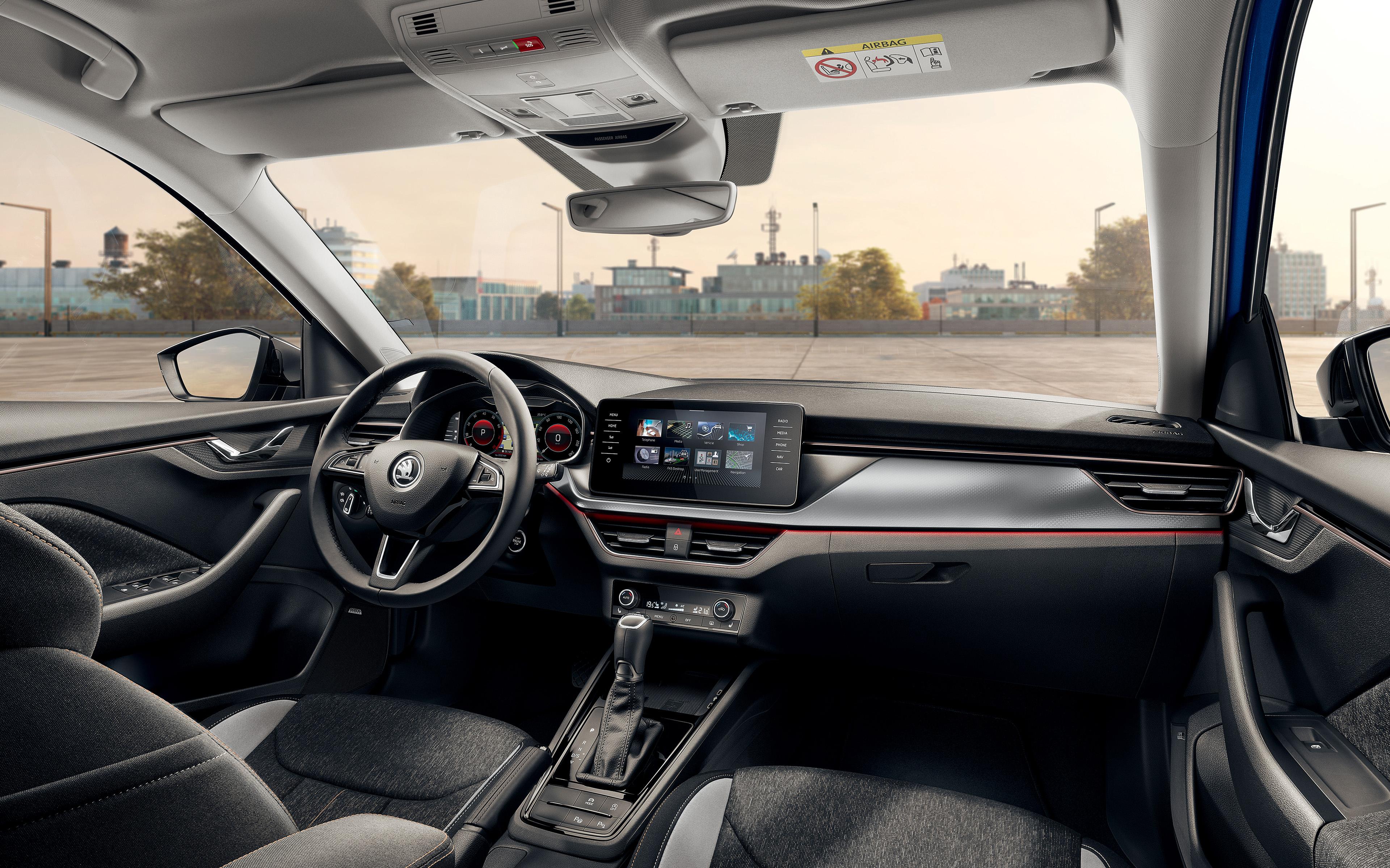 Download wallpapers 2019 Skoda Scala interior 4k view inside 3840x2400