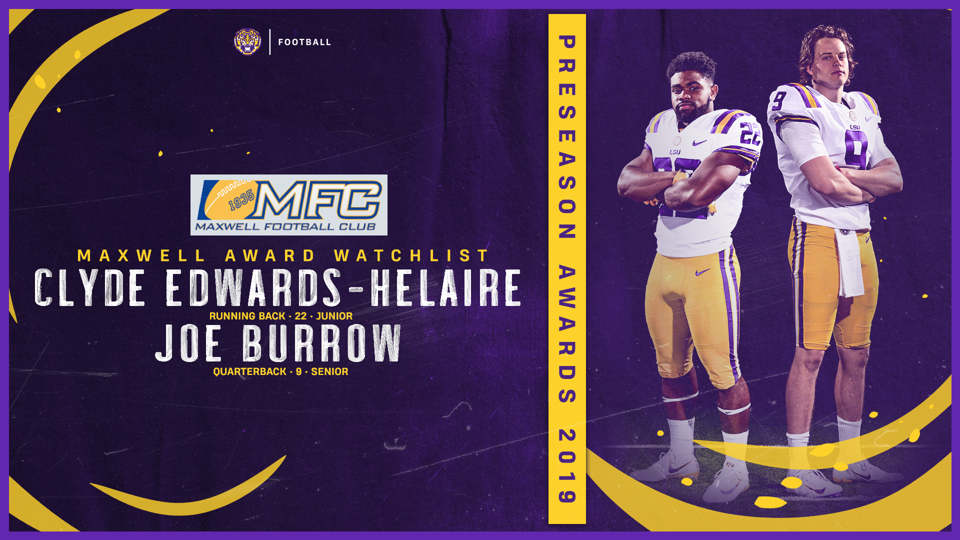 Burrow Edwards Helaire Named to Maxwell Watch List   LSU Tigers 1920x1080