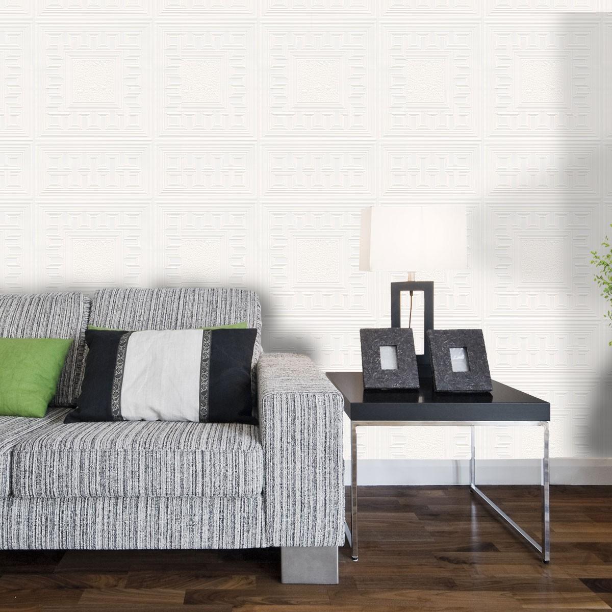 By Brand Belgravia Richmond Whites Paintable Greek Key Wallpaper 1200x1200