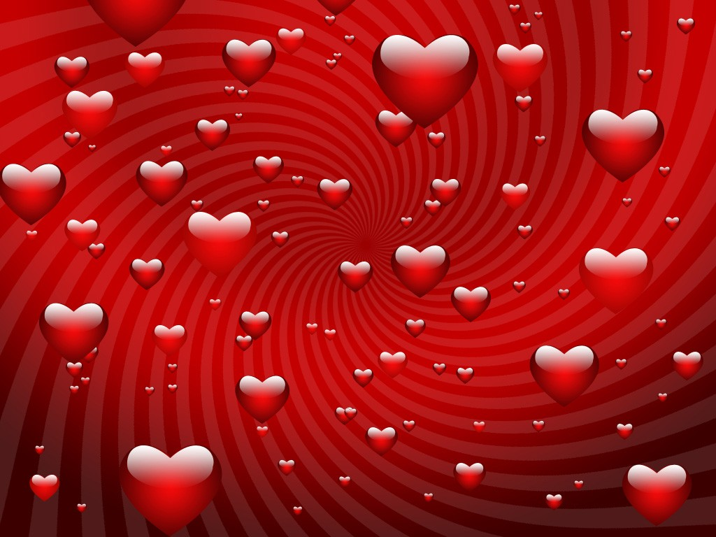 VALENTINE wallpapers   Red Valentine Hearts wallpaper 1024x768