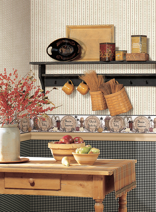 wallpaper paired with a small gingham wallpaper met with a country 500x681