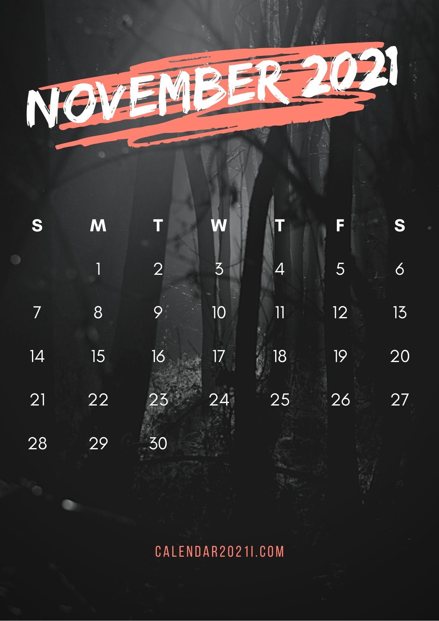 November 2021 Calendar iPhone HD Wallpaper printable 1414x2000