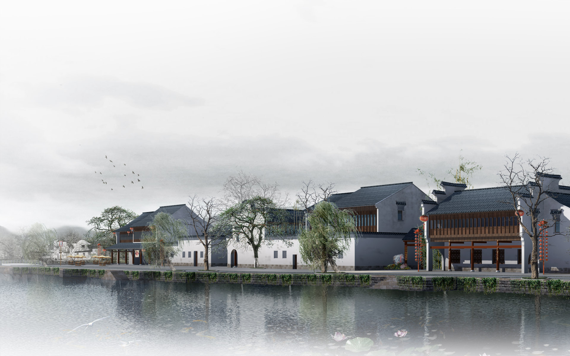 Effect of the tenth series of landscape architecture 15912   Building 1920x1200