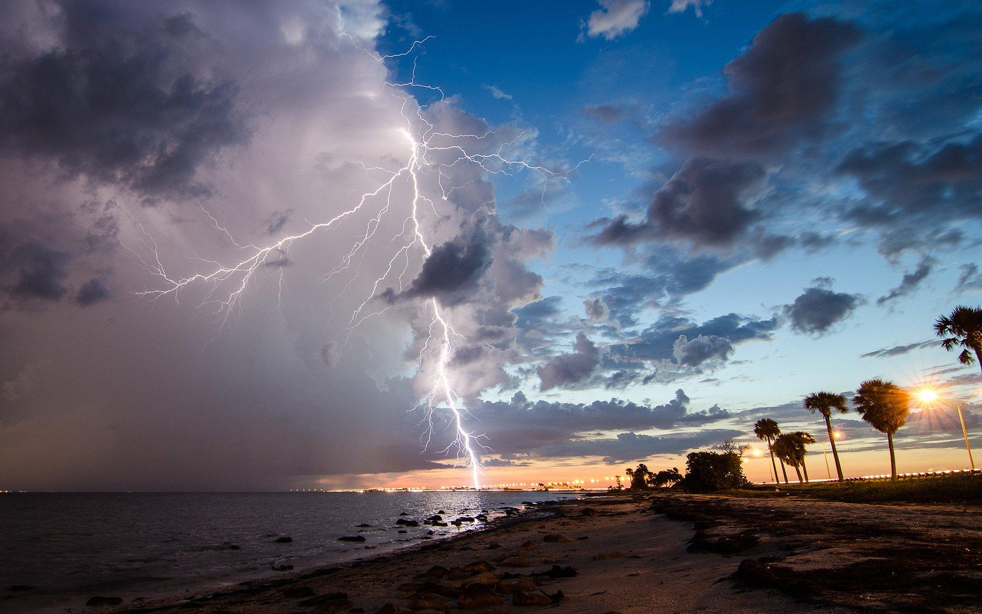 Lightning Clouds Storm Beach f wallpaper 1920x1200 247993 1920x1200