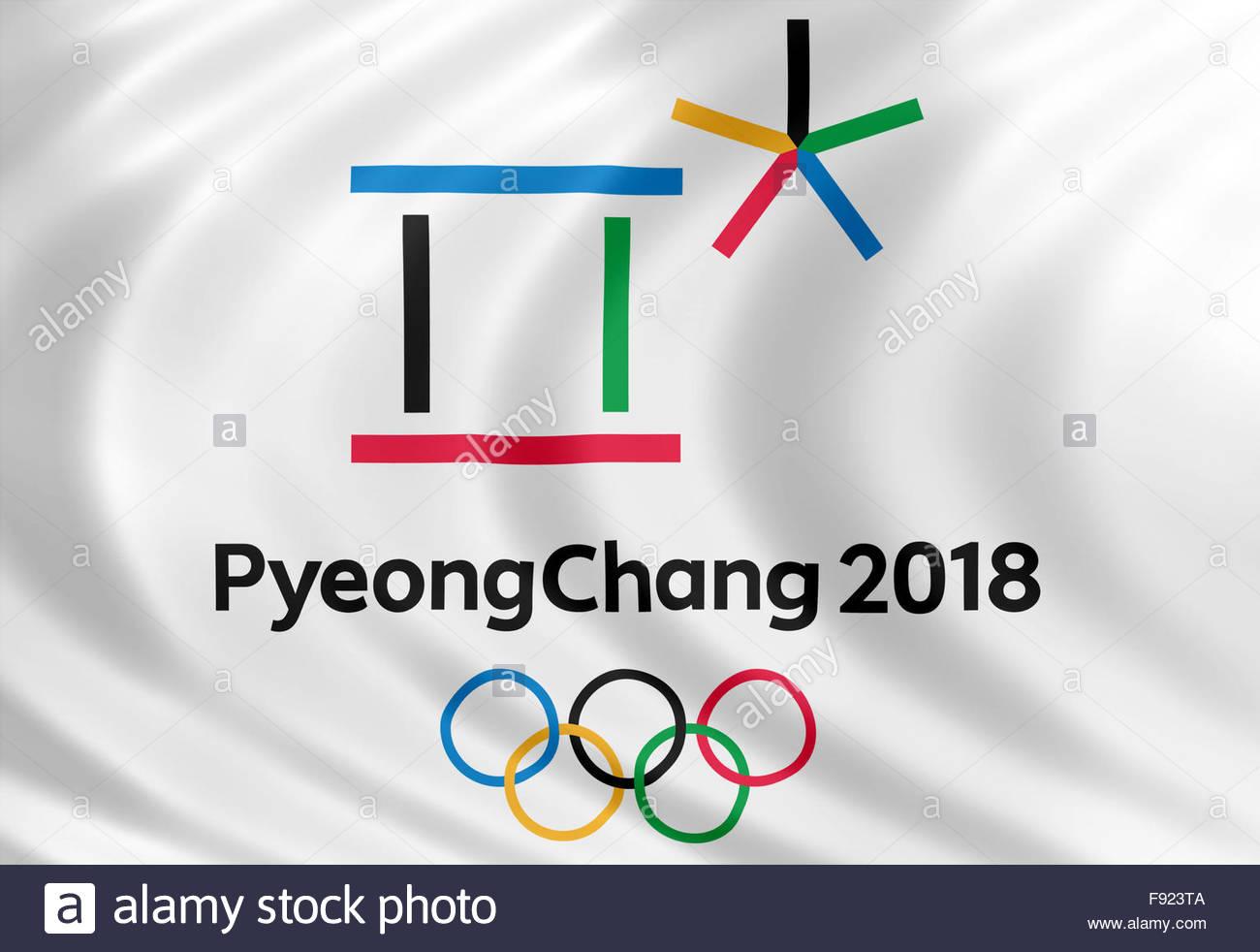 Pyeongchang 2018 Olympic Games logo icon flag Stock Photo 1300x982