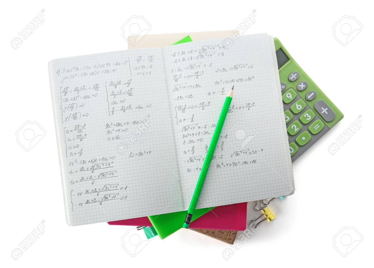Pile Of Homework On White Background Top View Stock Photo 1300x933