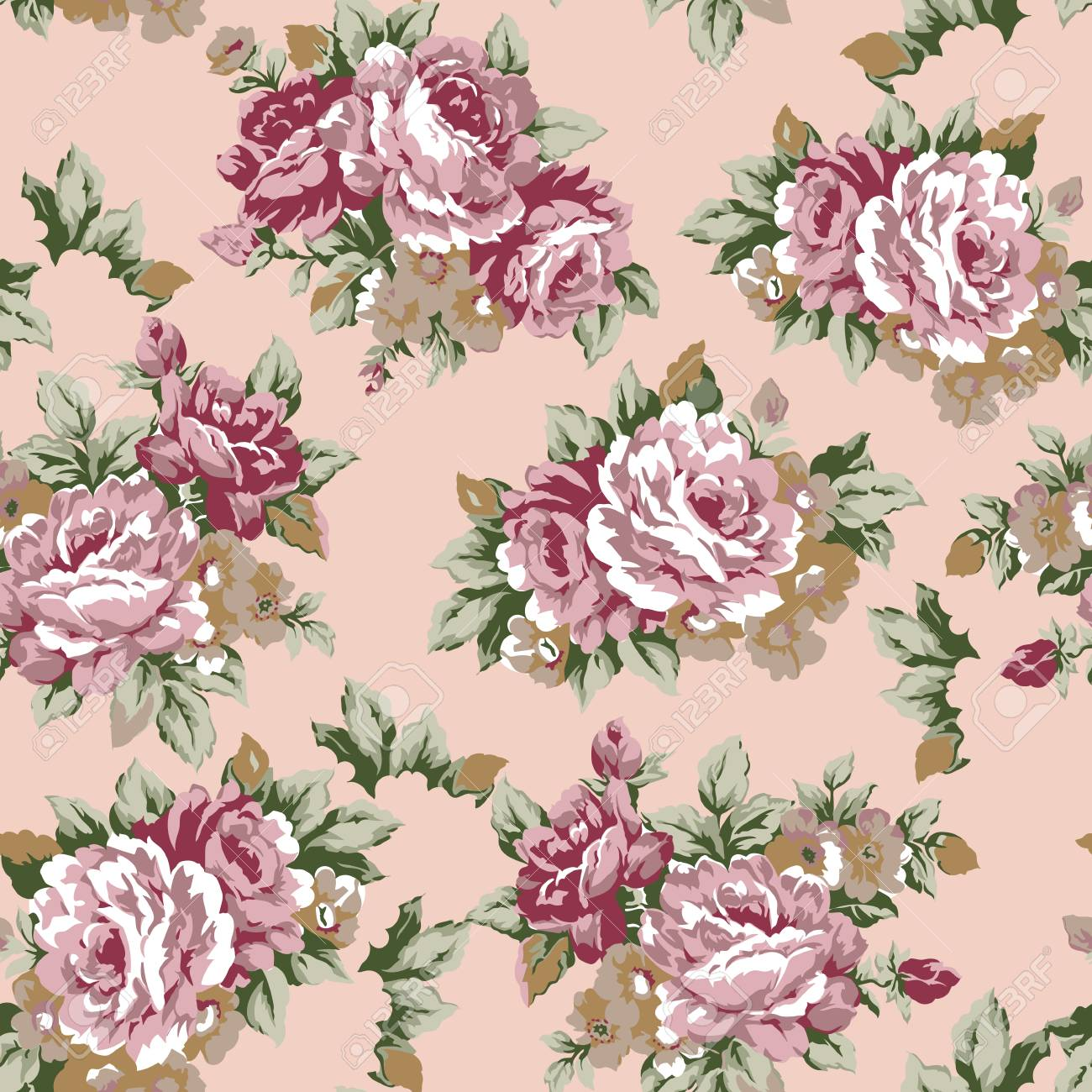 Shabby Chic Or Granny Chic Vintage Chintz Roses Seamless Pattern 1300x1300