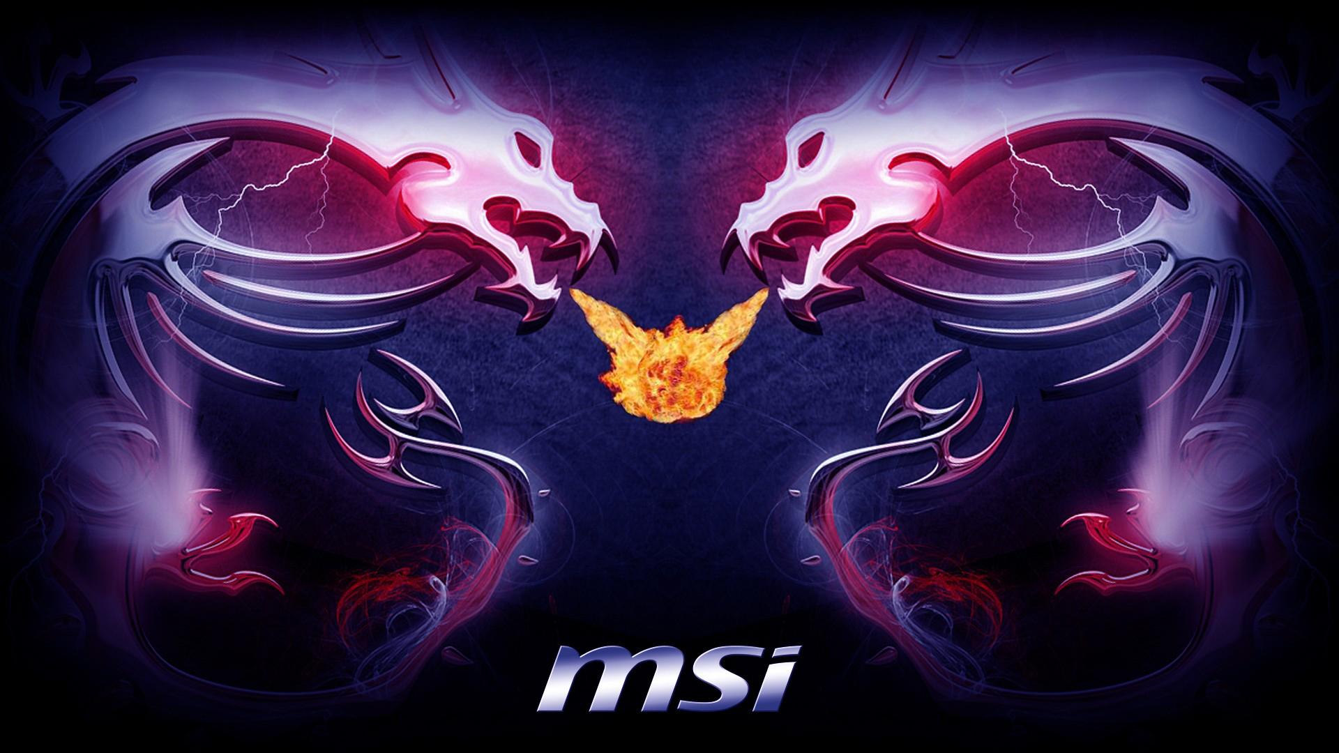msi twin dragon logo fire flame breath hd 1920x1080 1080p wallpaper 1920x1080