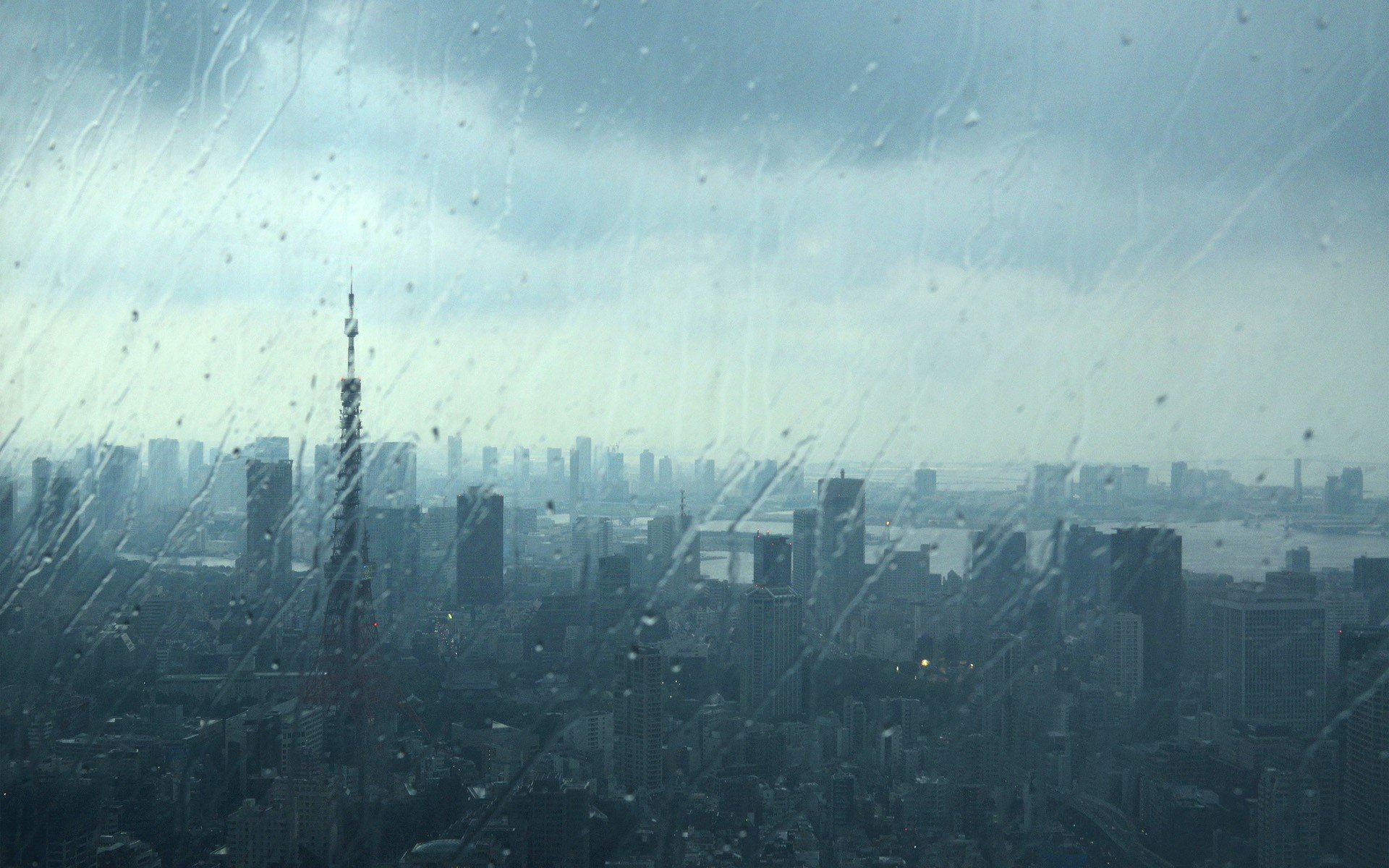 Japan Tokyo cityscapes urban water drops Tokyo Tower rain on glass 1920x1200