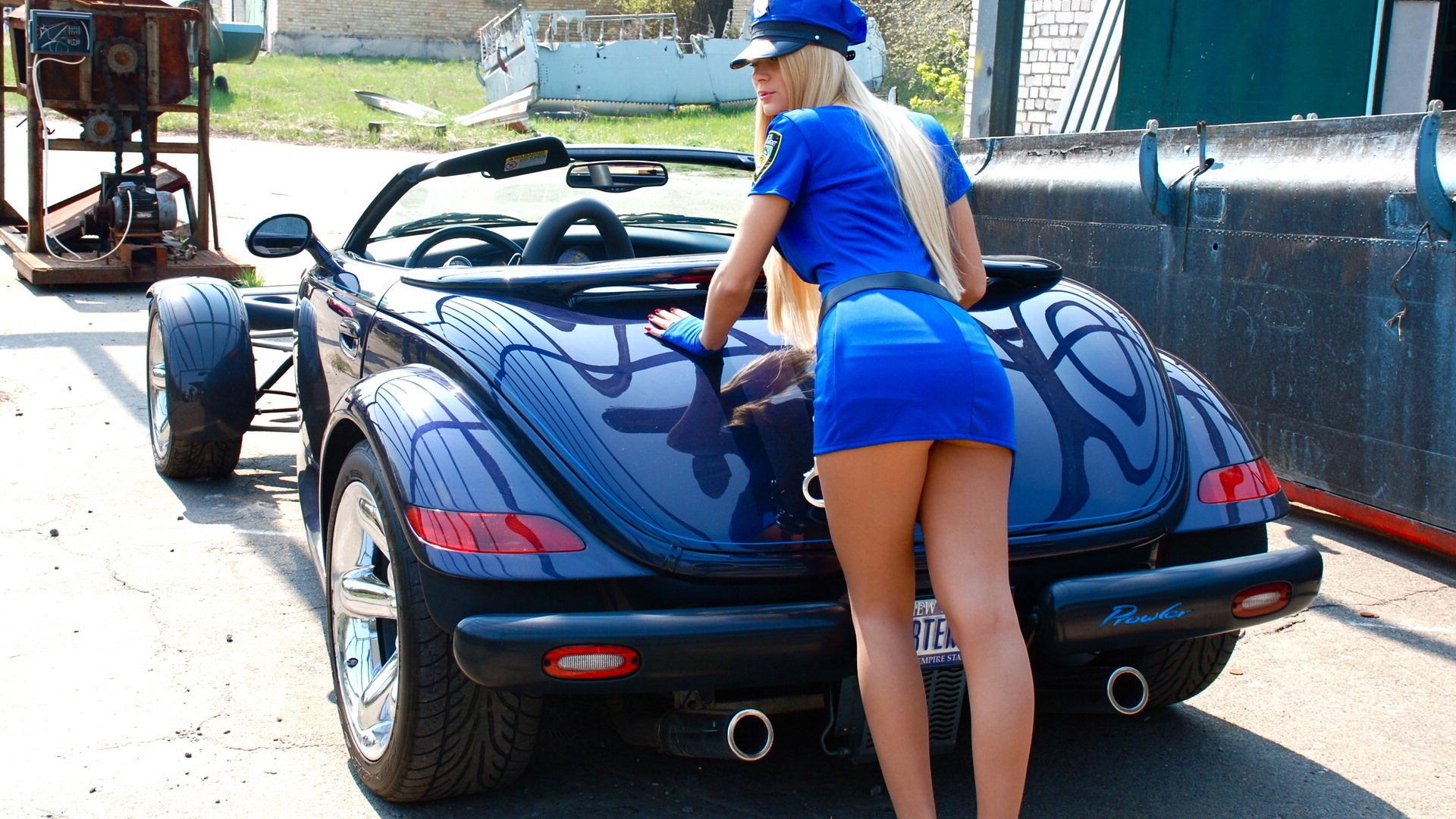 Wallpaper car girl tuning speed sport car plymouth prowler 1920x1080