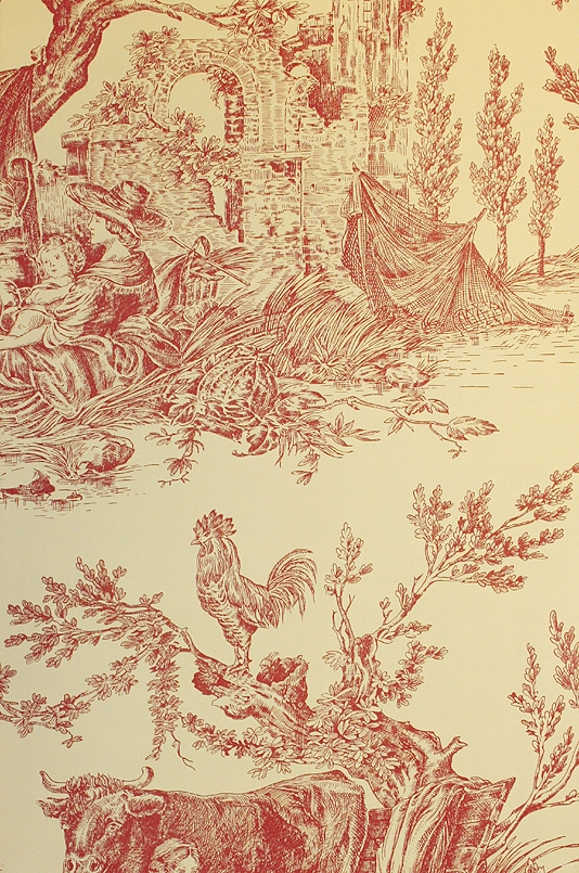 Red Toile de Jouy Wallpaper Chateau de Loir Wallcovering 534x805