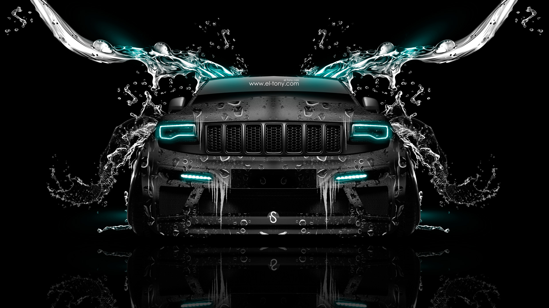 Jeep Grand Cherokee SRT8 Front Water Car 2014 Azure Neon HD Wallpapers 1920x1080