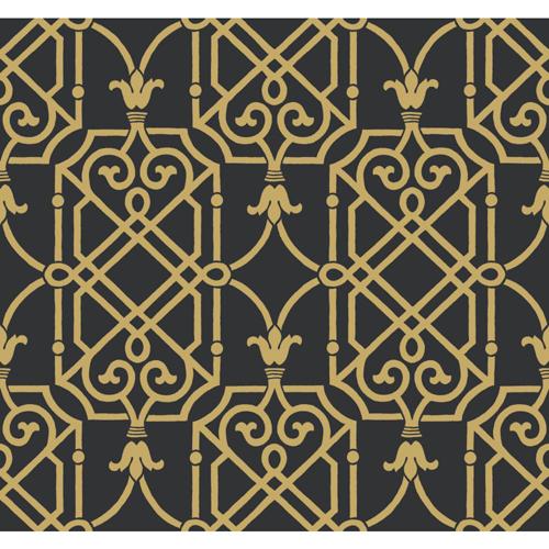 Wallcoverings Ashford Black White Onyx and Gleaming Gold Wallpaper 500x500