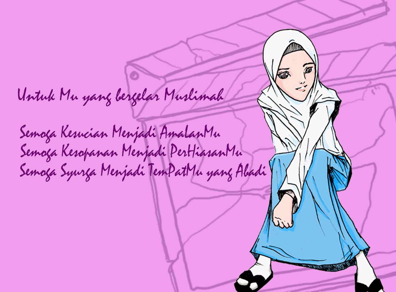 Free Wallpaper Gambar Kartun Muslimah Keren Terbaru