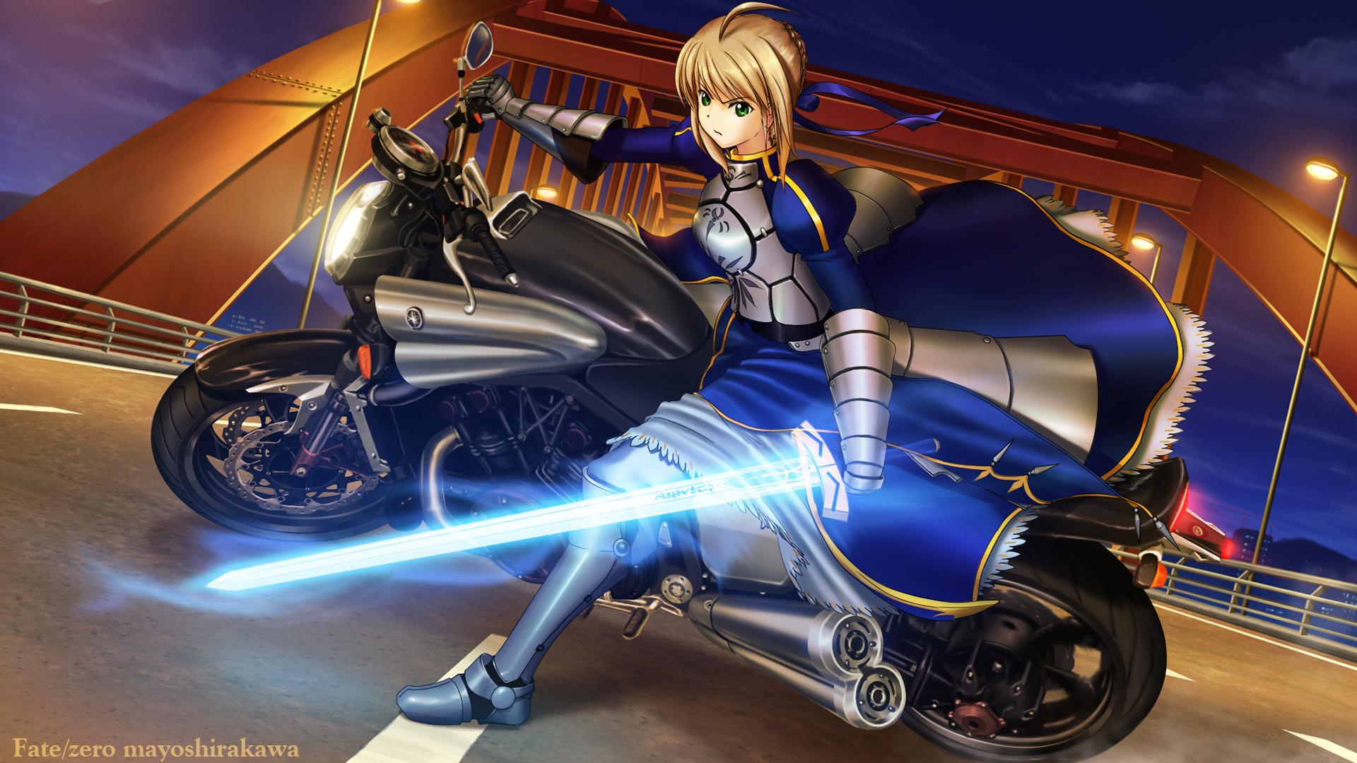 night fate zero motorcycle saber shirakawa mayo sword weapon wallpaper 1920x1080