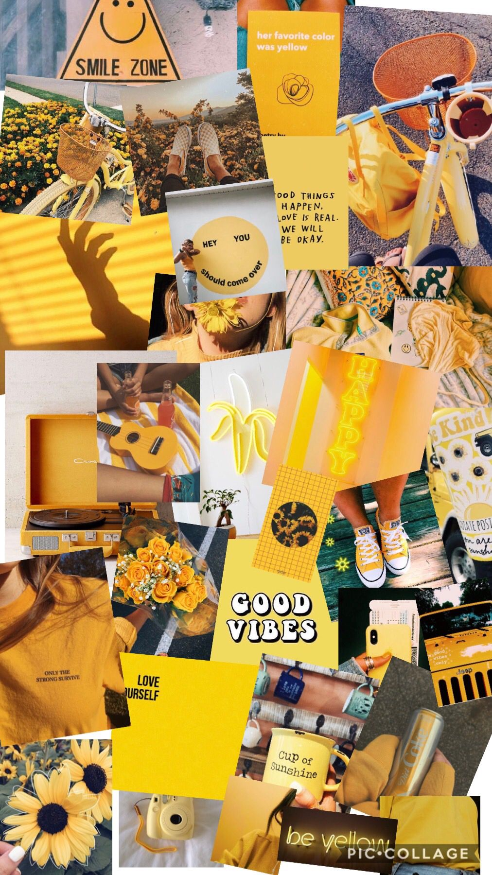 Free Download Yellow Aesthetic Collage Made By Me Kaila