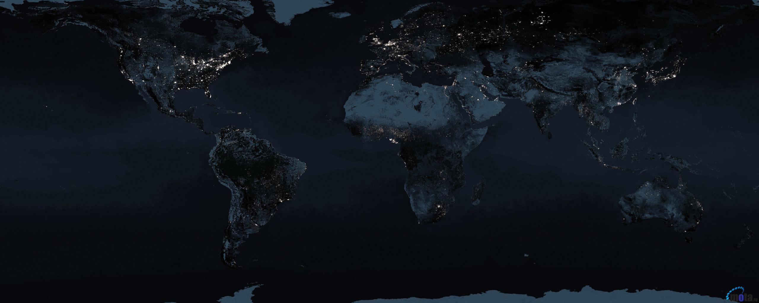 Download Wallpaper Night Earth Map 2560 x 1024 Dual Monitor Desktop 2560x1024