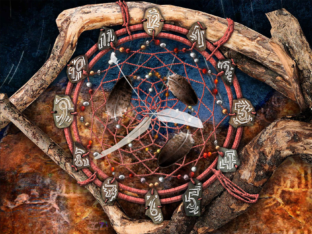 Dream Catcher Clock screensaver catch good dreams and let bad ones to 1024x768