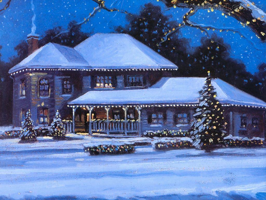 Papel de Parede Casa Enfeitada para o Natal 1024x768