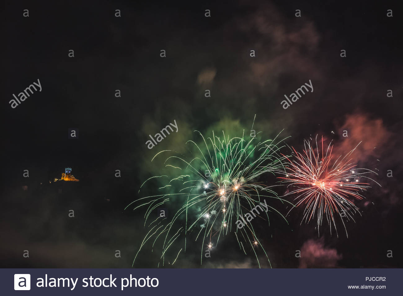 Wonderful red and green fireworks on the feast of the patron saint 1300x956