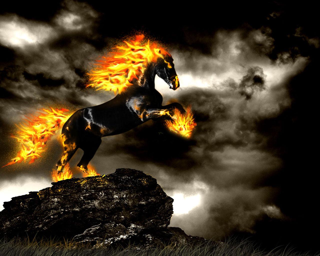 Fire Free Wallpaper Downloads: Fire Horse Wallpaper HD