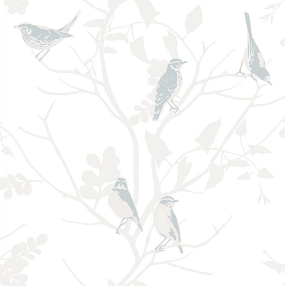 RASCH SONGBIRD BIRDS TREES BRANCHES MOTIF METALLIC WALLPAPER ROLL 998x1000