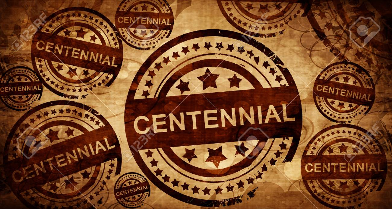 Centennial Vintage Stamp On Paper Background Stock Photo Picture 1300x693