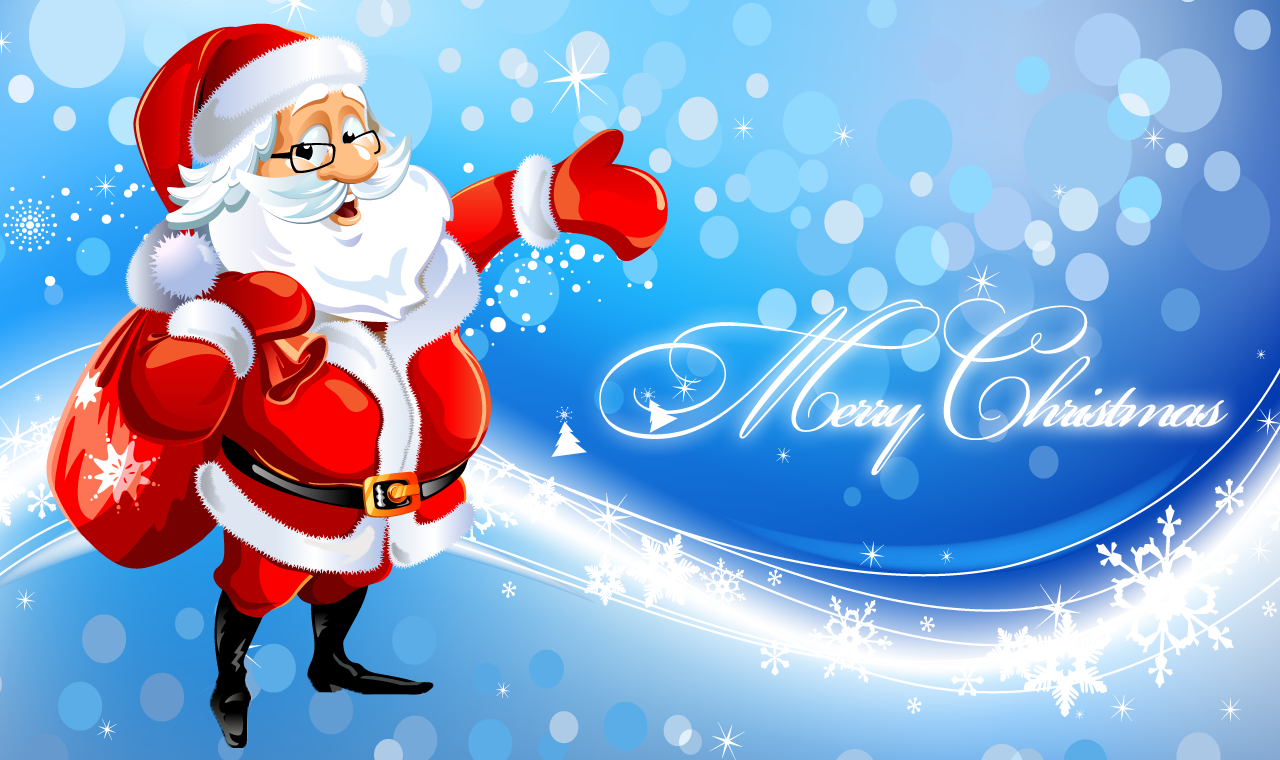 Cute Santa Merry Christmas Wallpaper Download Wallpaper with 1280x760 1280x760
