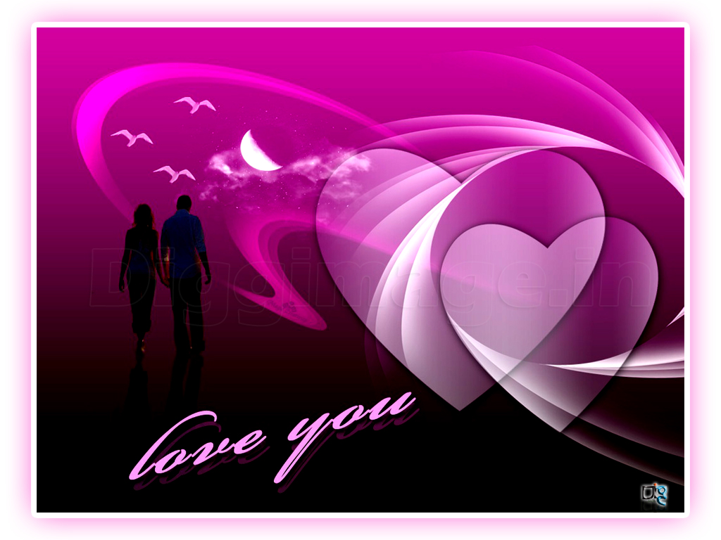 3D love Wallpaper for valentines with cute Color in Romantic Location 1024x768