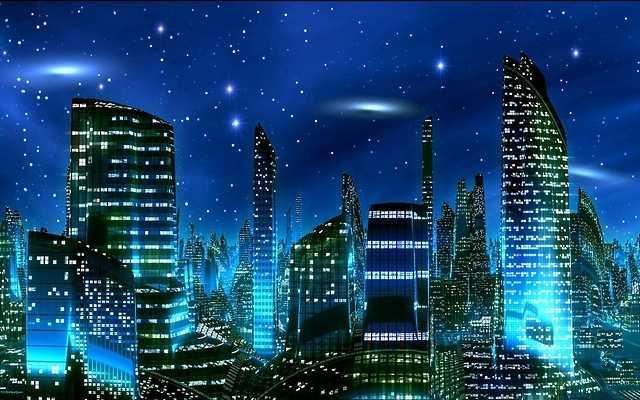 Futuristic City at Night Wallpaper 640x400