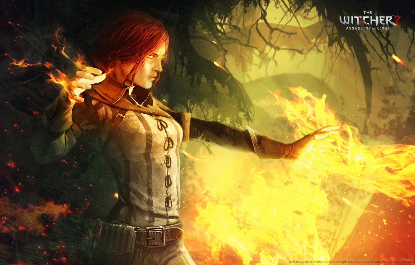 Wallpaper fire the witcher 2 assassins of kings Triss images 1332x850