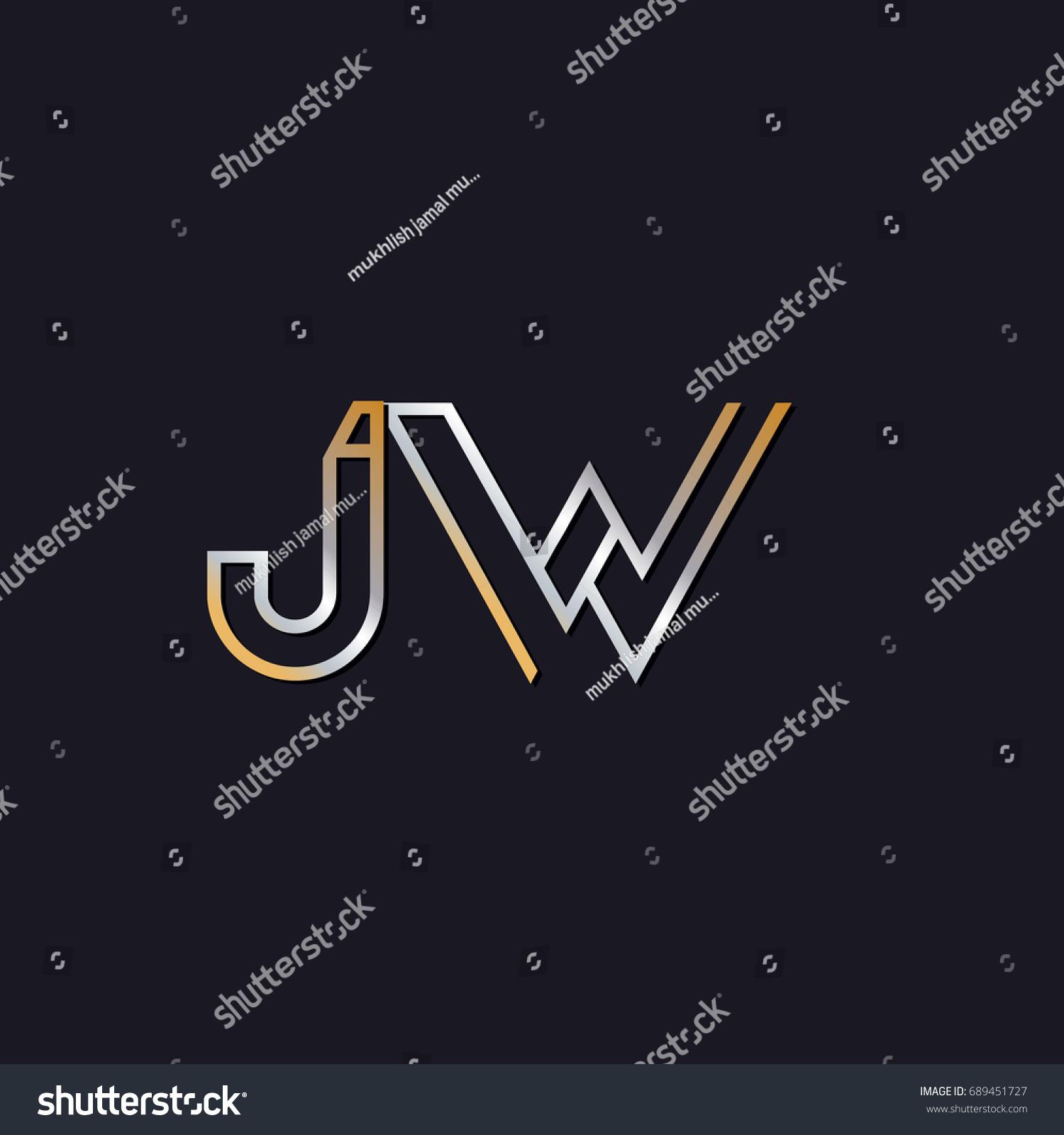 Jw Initial Letters Elegant Logo Golden Stock Vector Royalty 1500x1600