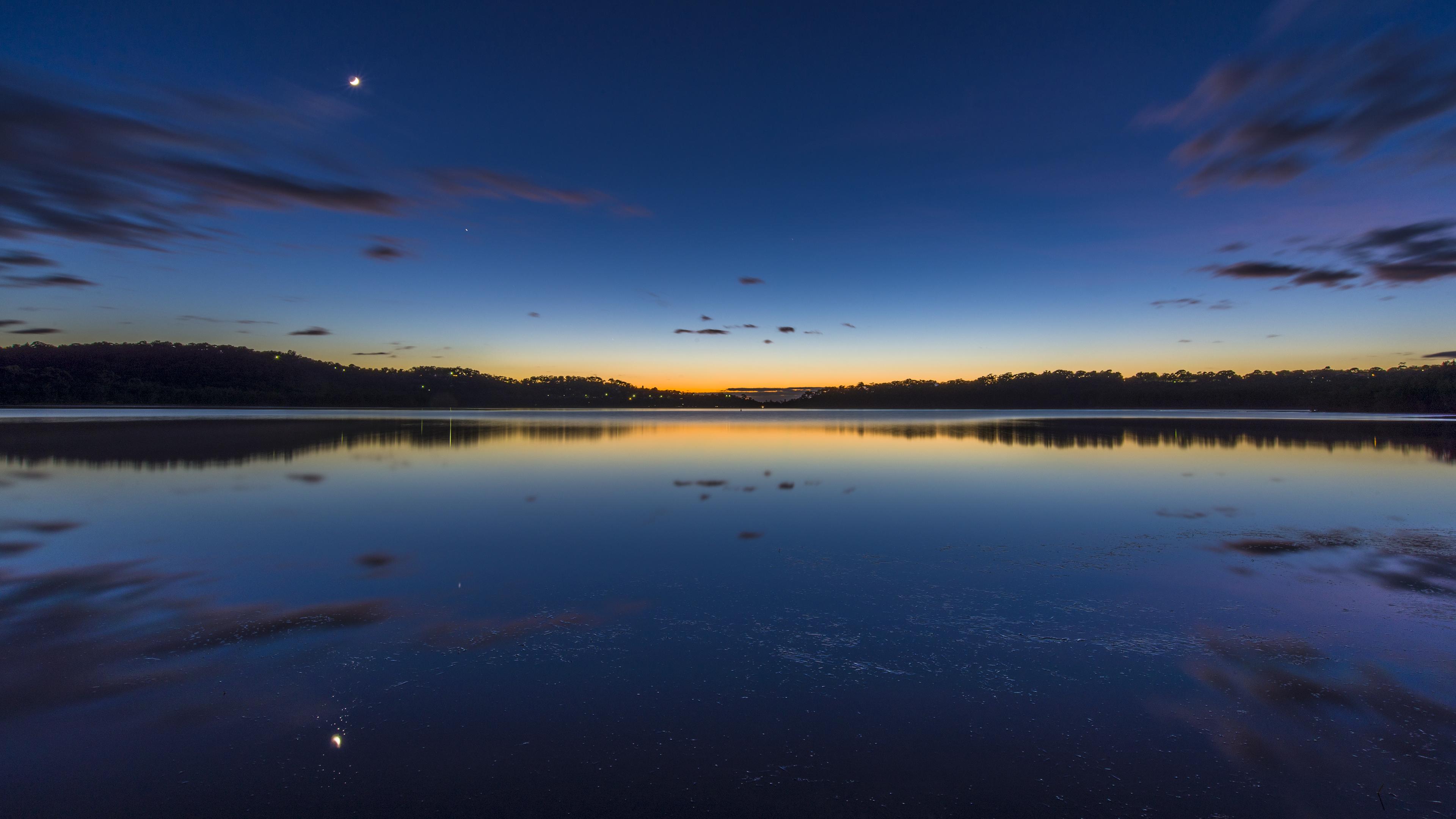 com Beautiful Nightfall over Lake 4K Wallpaper 3840x2160