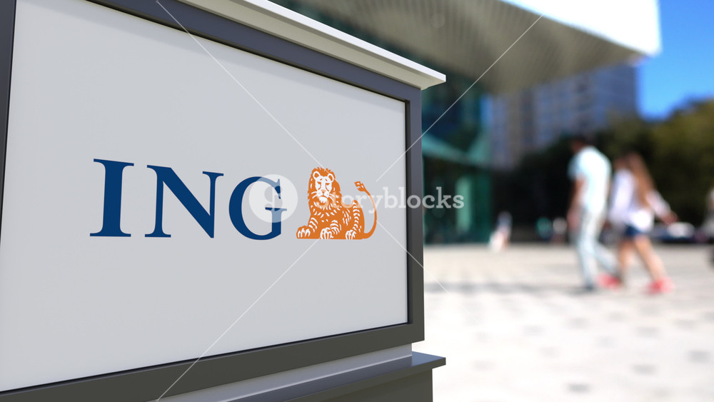 Street signage board with ING Group logo Blurred office center 1000x563